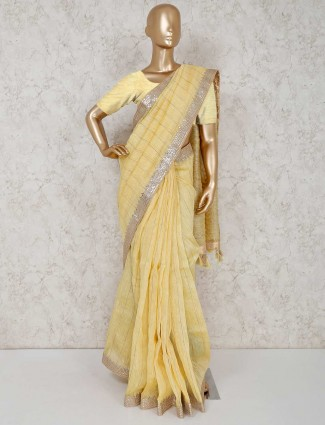 Cotton silk lemon yellow saree