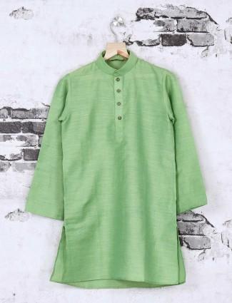 Cotton silk light green kurta suit
