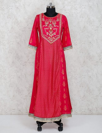 Cotton silk long salwar suit in magenta color