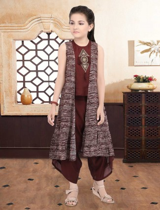Cotton silk maroon dhoti suit with jacket