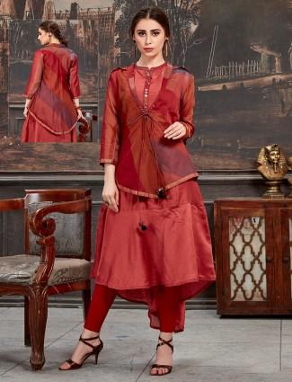 Cotton silk maroon long jacket style kurti