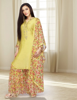 Cotton silk mustard green punjabi sharara suit