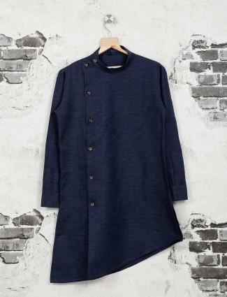 Cotton silk navy color kurta suit
