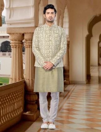 Cotton silk olive designer waistcoat set