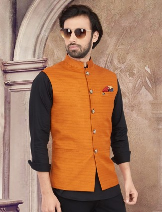 Cotton silk orange solid waistcoat