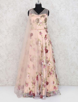 Cotton silk peach colored gown for wedding