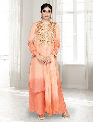 Cotton silk peach party punjabi palazzo suit