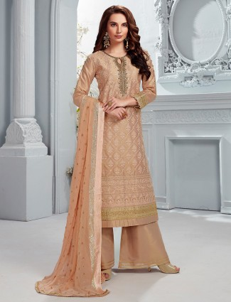 Cotton silk peach punjabi palazzo suit in party
