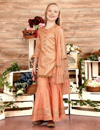 Cotton silk peach punjabi sharara suit