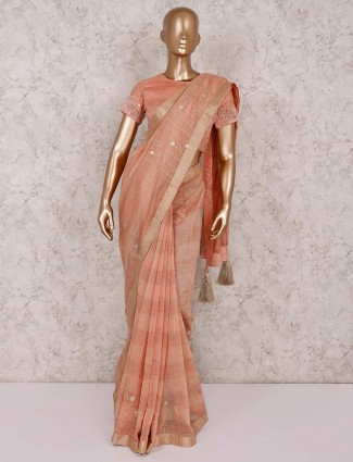 Cotton silk peach saree with ready made blouse