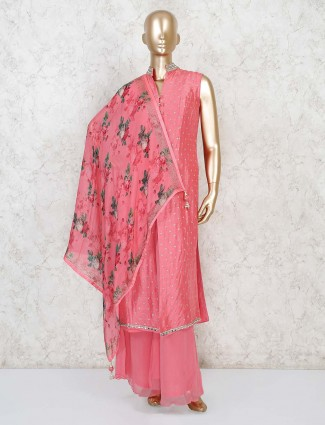 Cotton silk pink color palazzo suit with printed dupatta