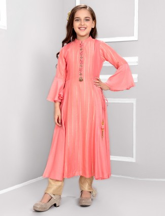Cotton silk pink festive pant salwar suit