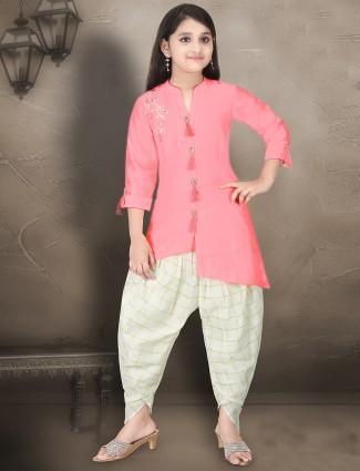 Cotton silk pink hue punjabi dhoti suit