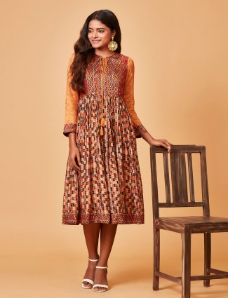 Cotton silk printed peach kurti