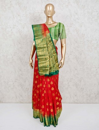 Cotton silk red saree in nice contrast border