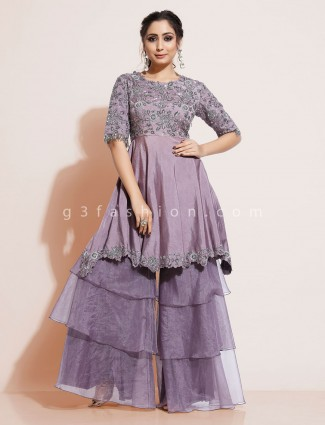 Cotton silk violet designer sharara suit