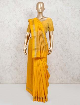 Cotton silk yellow jacquard design saree