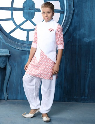 Cotton solid white and pink waistcoat set
