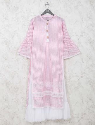 Cotton stripe double layer pink kurti