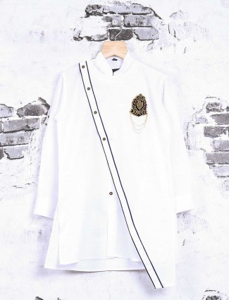 Cotton white party wear kurta suit