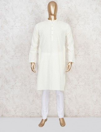 Cotton yellow festive kurta suit