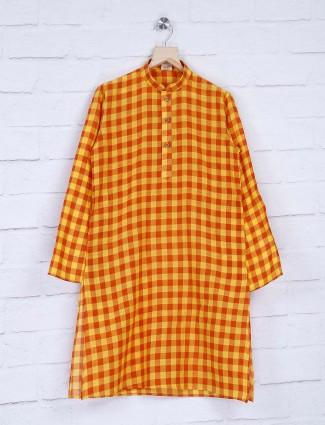 Cotton yellow hue checks kurta suit