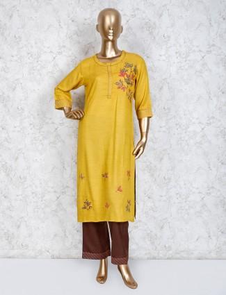 Cotton yellow round neck pant suit