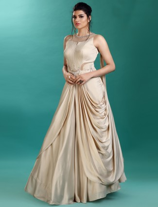 Cowl style beige color gown in satin fabric
