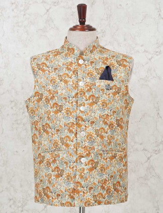 Cram printed cotton waistcoat for parties