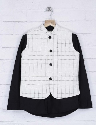 Cream and black checks waistcoat shirt