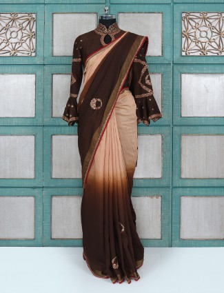 Cream and brown shaded cotton silk saree with ready made blouse