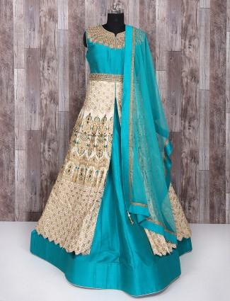 Cream and light blue indo western style lehenga