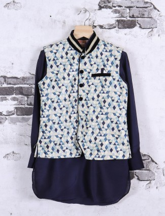 Cream and navy printed waistcoat set