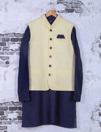 Cream and navy silk waistcoat set