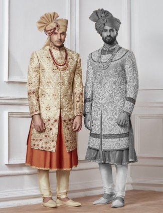 Cream and peach silk sherwani