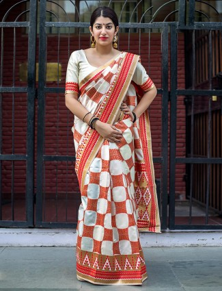 Cream and red banarasi silk saree