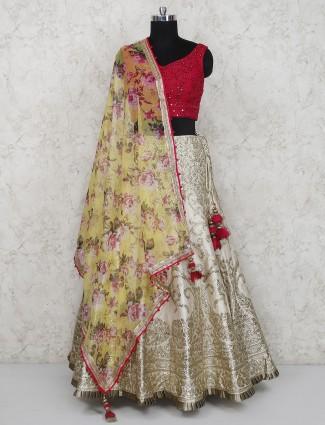 Cream and magenta silk wedding lehenga choli