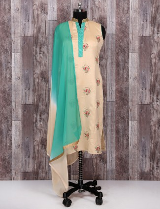 Cream and sea green color punjabi suit
