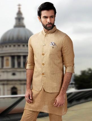 Cream beige classic waistcoat set