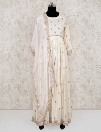 Cream color cotton fabric anarkali salwar suit
