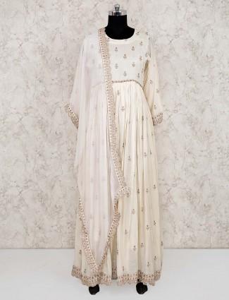 Cream color cotton fabric anarkali salwar suit