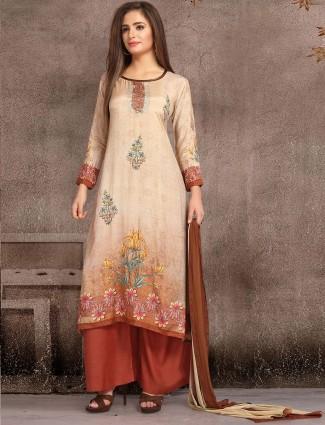 Cream color cotton festive punjabi salwar suit