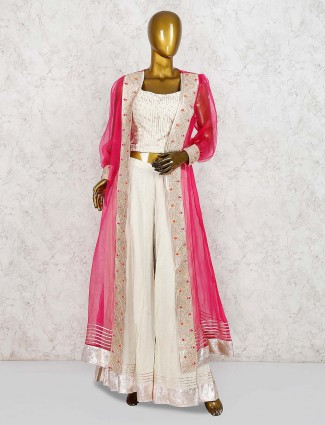 Cream color cotton silk jacket style punjabi palazzo suit