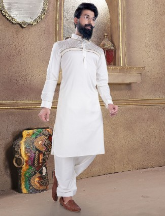 Cream color cotton silk pathani suit