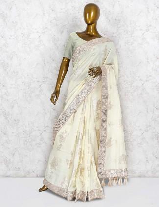 Cream color lovely silk saree