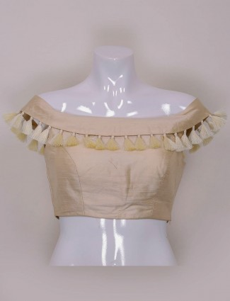 Cream color plain raw silk ready made blouse