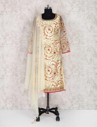 Cream color punjabi wedding wear net salwar suit