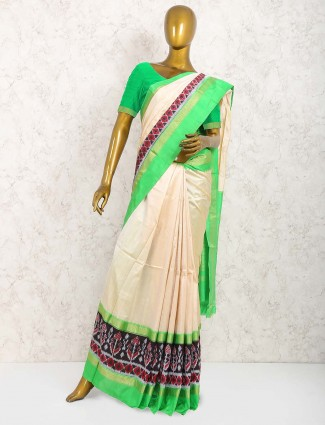 Cream color pure silk fabric sari
