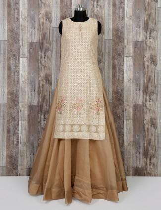 Cream color salwar suit for wedding wear