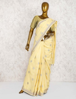 Light yellow color semi silk wedding saree